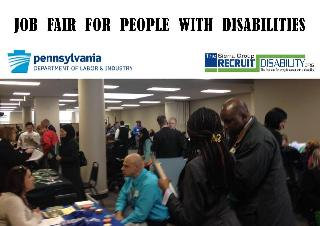 Jobseekers meeting employers at Recruit Disability PA Office of Vocational Rehab Job Fair